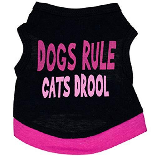 PET Kreativer Brief gedruckt Baumwolle Haustiere Kleidung Katzen Welpen kleine Hunde Weste Shirt Costume Pet Kleidung für kleine Hunde (Farbe : Schwarz, größe : M) -
