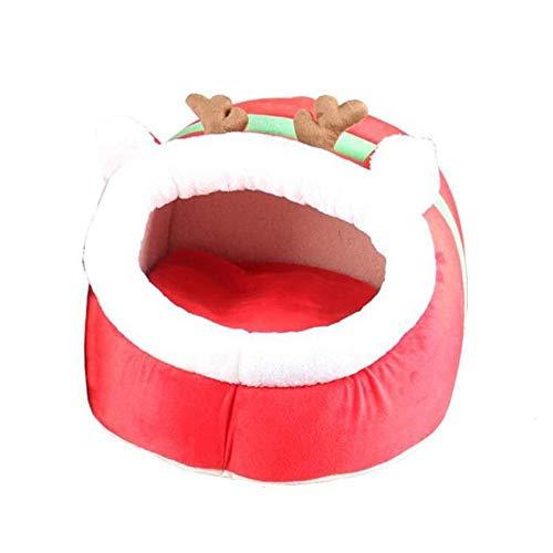 Pet Waterloo Christmas Elk Hundehütte Winter Warm Hundebett Kleine Hunde Nest Kennel Pet Supplies Weihnachtsgeschenk Red Pet Bed Für Welpen Kätzchen (Größe : M) Elk Schuhe
