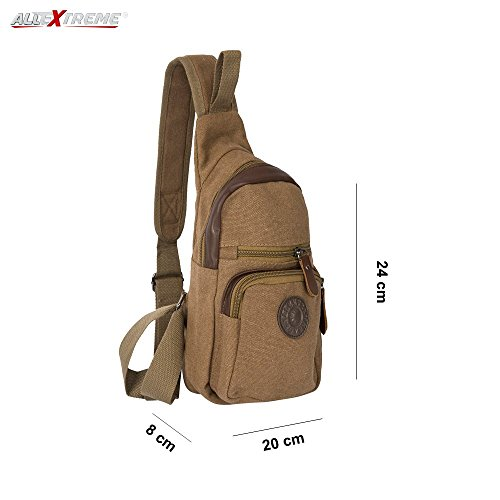 AllExtreme Canvas Sling Bag Canvas Chest Shoulder Backpack Water Resistant Vintage Carry Cross Body Messenger Bag for Men Women Kids Perfect for Gym Travel Hiking Working School Business (Bronze Brown)