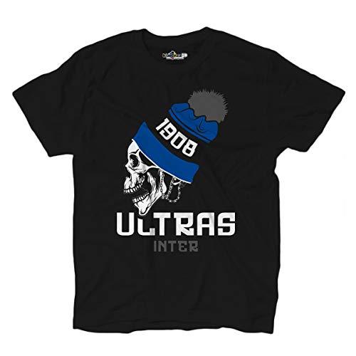 Rabatt-trikots (KiarenzaFD Ultras Inter 1908 Stadio Tifosi Fußball T-Shirt Totenkopf, KTS02190-M-black, schwarz, Medium)