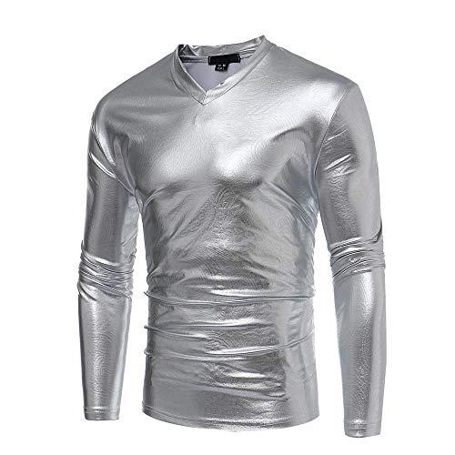 IYFBXl Neue Persönlichkeit Muster Nachtclub Wilde Männer Herbst Winter lässig Langarm V-Ausschnitt T-Shirt mit Langen Ärmeln, Silber, L -