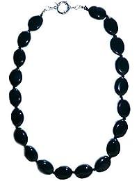 ovalen schwarzen Onyx Halskette