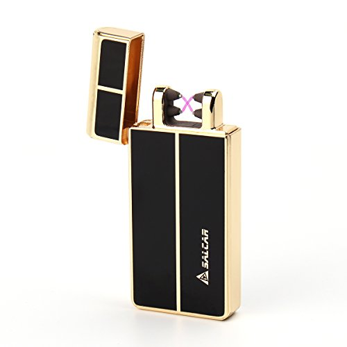 salcar-double-electrique-arc-briquet-usb-rechargeable-cigarette-lighter-anti-vent-noir-dor