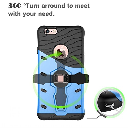 "iPhone 7/8 Case,SUNWAY 360 Degree Rotate Kick stand 2 in 1 Hybrid Dual Layer Silicone Rubber TPU + Hard PC Bumper Shockproof Anti-Impact Armor Protective Case Cover for Apple iPhone 7/8 4.7"" Blue Silver"
