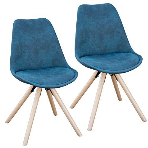 SVITA 2er Set Esszimmerstühle rund Polsterstuhl Stuhl-Gruppe Küchen-Stuhl Blau, Grau oder Schwarz Kunstleder Retro (blau)