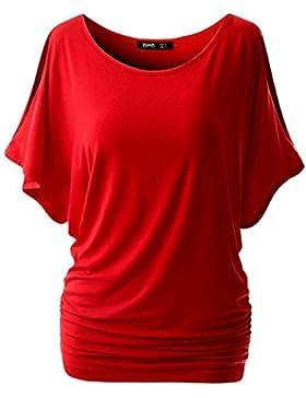 Donna Manica Corta Magliette Tinta Unita Girocollo Off Spalla T shirt Tops Camicetta Rosso XXXL