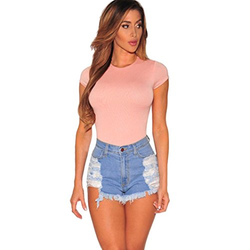 Kolylong Women Summer Skinny Ripped High Waisted Denim Shorts Jeans Hot Beach Pants