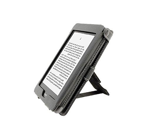 igadgitz PU Bi-View Leder Etui Hülle mit Sleep/Wake Funktion/Integrierte Handschlaufe für Amazon Kindle Paperwhite 2015/2014/2013/2012 schwarz (Kindle 2 Cover Light)