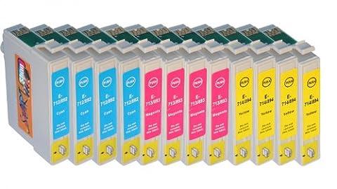 12 Cartouches d'encre compatibles avec Puce remplace Epson T0712, T0713,