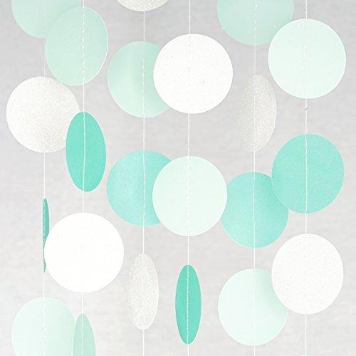 Chloe Elizabeth Kreis Punkte Papier Party Girlande Hintergrund (10Füßen, lang) Aqua, Mint, Pearl White China Blue Garland