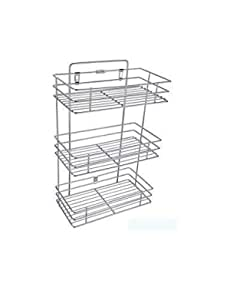 House Tools 3 Layer Stainless Steel Kitchen Organizer,Bathroom Rack,Shelves with Big Size & Kitchen Shelf wall Holder for Store a Bathroom Accessories & Home & Kitchen tools, Multipurpose - Square (3 Layer)