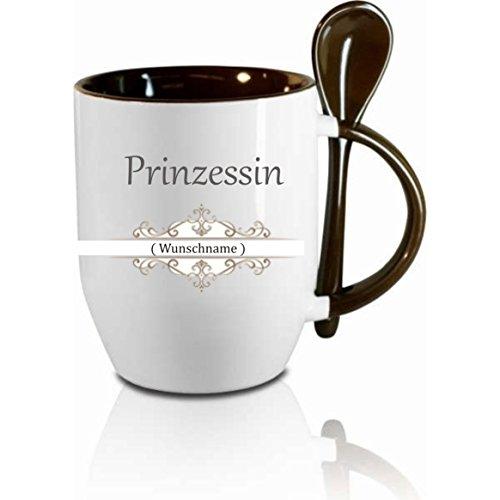 Tasse m. Löffel ' Prinzessin Wunschname ' Löffeltasse, Kaffeetasse mit Motiv,Bürotasse, bedruckte...