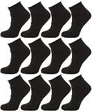 Calzini Corti Sportivi Senza Elastico, Calze Uomo/Donna in Cotone, calzino Comfort Tinta Unita, Non stringe Nero 35-40