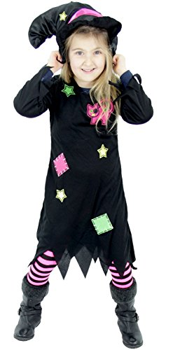 Hexen Kostüme (Foxxeo 40085 | Süßes Hexenkostüm für Mädchen Kinder Hexenhut Hexen Halloween Kostüm Gr. 86-128,)