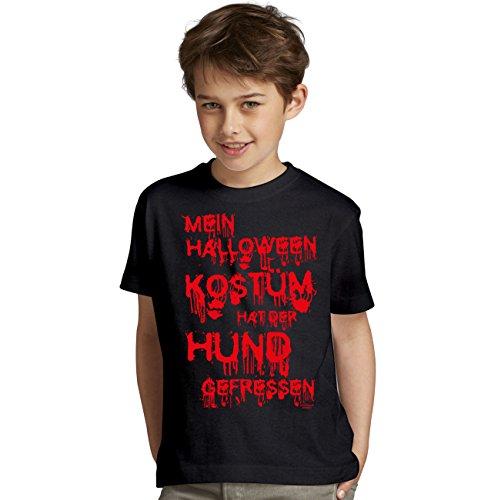 nder-Jugend-Fun-T-Shirt Gruselig witziges Shirt für Kids Mädchen / Jungen Mein Halloween Kostüm hat der Hund gefressen Geister Gespenster Kürbis Outfit Geschenk Idee Farbe: schwarz Gr: 122/128 (Hund Kostüme-halloween-geist)