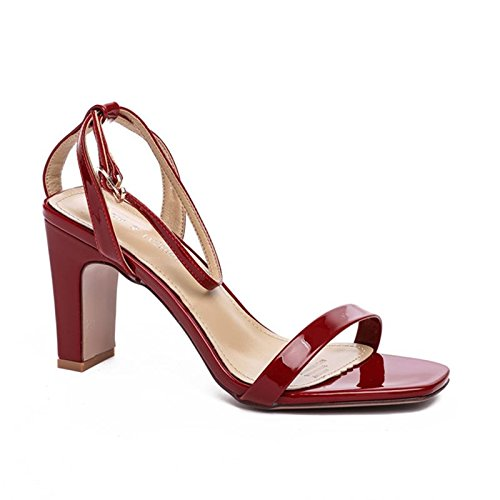 YMFIE Mode-Patent-Leder Hochhackigen Sandalen Damen Sommer Sexy Temperament Offene Zehen, 37 EU, A -