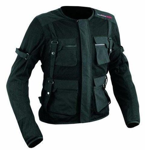 A-Pro corpo armatura giacca di tessuto, frecce schiena CE Protezioni Biker Nero L