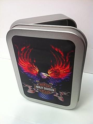 Harley-Davidson Motor Cycles. Flamining Eagle. Logo. American flag. USA. Motor