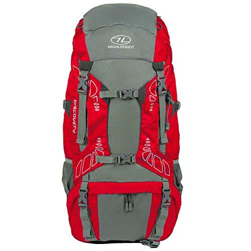 65 Liter Discovery Rucksack von Highlander - Leichter Wanderrucksack mit wasserdichter Hülle - Ideal zum Wandern, Reisen, Trekking, Camping und