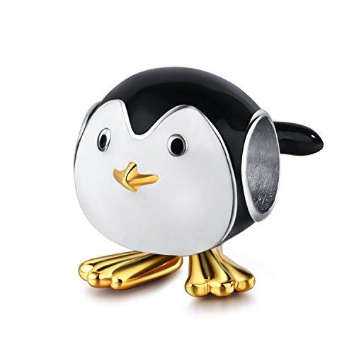 (Charm-Perle, Design: Pinguin, vergoldetes 925er-SterlingsSilber, weiße / schwarze Emaille, passend für Charm-Armbänder & -Halsketten, Schmuck für Erwachsene und Kinder)