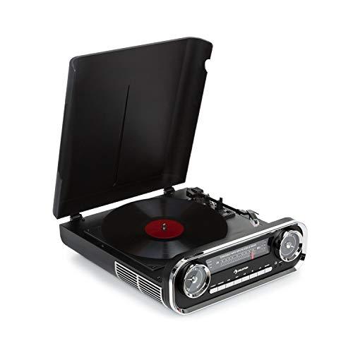 Auna Challenger LP • Giradischi • Giradischi con Altoparlante Stereo • Radio FM • 3 Watt RMS • Bluetooth • USB • AUX in • 33, 45 e 78 RPM • Trasmissione a Cinghia • Design retrò • Nero