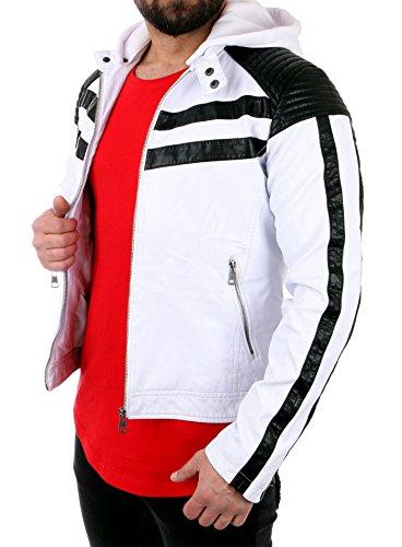 Reslad Lederjacke Herren Kontrast Kapuzen Kunstleder Jacke RS-545 Weiß