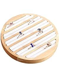 luckything Bandeja organizadora de Anillos de Madera de bambú,Organizador de Joyas, Bandeja de Anillo, Placa de exhibición, Accesorios de aretes Redondos