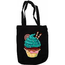 Orgánico bolsa Shopper Bag–Cupcake Twist verde pistacho–100% natural–comercio justo–negro