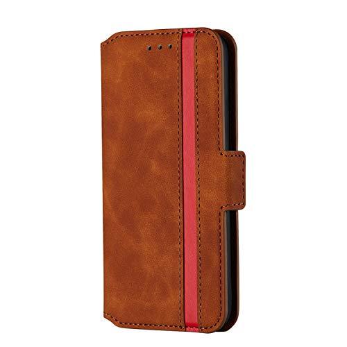 Fatcatparadise Kompatibel mit iPhone XS Max (6,5 Zoll) Hülle + Panzerglas Schutzfolie, Mode Design Schutzhülle PU Leder Handyhülle Ledertasche [Magnetisch] [Kartensteckplätze] (Braun)