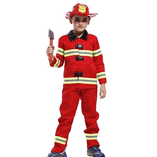 Taglia l - 7-8 anni - costume - travestimento - carnevale - halloween - sam il pompiere - colore rosso - bambino