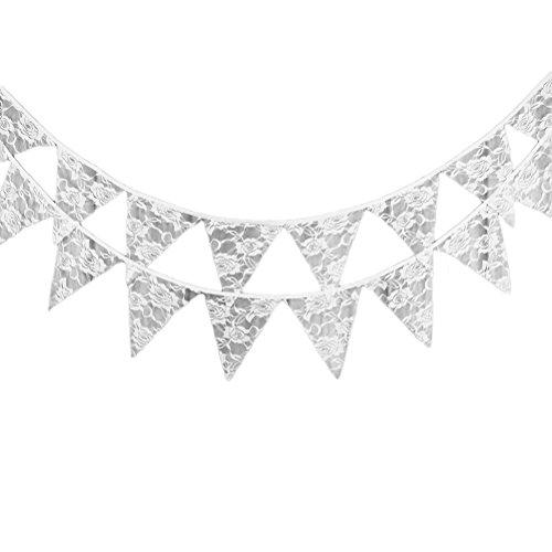2.8-2.9m, 12PCS als 1 Satz, Wicemoon weiße Spitze-Hochzeits-dekorative Blumenflaggen-Flaggen-Flaggen markierte Hintergrund-Flaggen