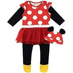 Disney - Ensemble de Dors Bien et Bonnet - Minnie Mouse - Bébé Fille - Rouge - 3-6 Mois