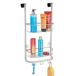 mDesign Duschablage zum Hängen über die Duschtür - praktisches Duschregal ohne Bohren - mit Saugnäpfen - Duschkorb zum Hängen aus Metall für sämtliches Duschzubehör - mattsilber