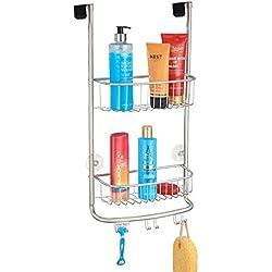 mDesign rangement de douche suspendu à la porte de la douche - étagère de douche pratique - montage sans perçage - accessoire de rangement salle de bain - argent mat