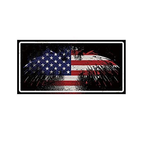 Simunliyg Lustiges Blechschild, Vintage, Retro, Blechschild, Wandschild, Wanddekoration, Autokennzeichen, Souvenir USA Flag rot -