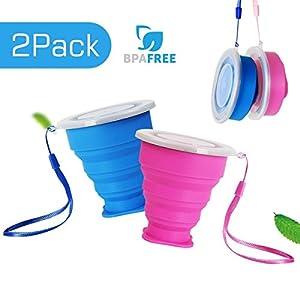 2 pcs Tazas de Viaje 200ml de Silicona Plegable Portátil y Reutilizable,Vaso Con Tapa sin BPA para camping senderismo y Viaje.(Azul y Rosa) 15