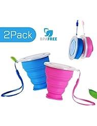 2 pcs Tazas de Viaje 200ml de Silicona Plegable Portátil y Reutilizable,Vaso Con Tapa sin BPA para camping senderismo y Viaje.(Azul y Rosa)