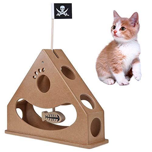 Aolvo Cat Agility Spielzeug, Hide und Seek Cat Toy Box Holz Pendel Stil Interaktives Puzzle Spielzeug, Triangle Struktur Chase Jagd Funny Toys mit Baumeln Fisch und Flagge Pirat für Alle Katzen