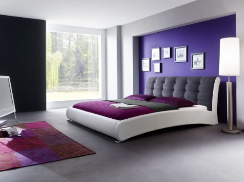 Dreams4Home Polsterbett mit Kunstlederbezug 'Avanti', 160, 180×200 cm, Weiß/Graphit, Liegefläche:160×200 cm