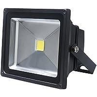 Sailun – LED de 50 W, foco, luz, faro exterior–Foco de pared, negro, aluminio, IP65 resistente al agua CA 85–265V blanco cálido, blanco frío