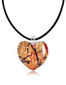 Antica Murrina passione - Pendentif coeur en verre Murano Rouge, or et noir