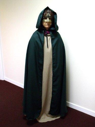 Dunkelgrüner Umhang, Polyester Twill, Erwachsenen-Umhang, Stil: Legoslas/Frodo Herr der Ringe LOTR/Pirat, (Kostüm Reaper Dark)