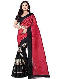 Aaradhya Fashion Women's Bhagalpuri Printed Saree with Blouse Piece