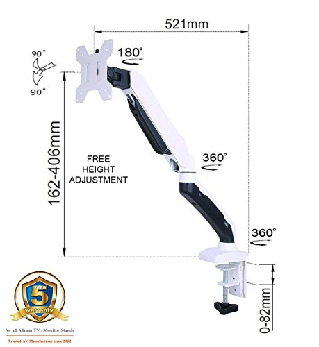 GSA21DS Gas Spring Desk Mount LCD Monitor Arm Stand in White w/vesa Bracket & Monitor arm: Free up/down & Left/Right Motion -