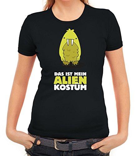 Fasching Karneval Damen T-Shirt mit Das ist mein Alien Kostüm 8 Motiv von ShirtStreet Schwarz