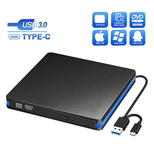 BlueFire CD DVD Laufwerk Externe, USB 3.0 und Typ-C, Tragabar CD DVD Brenner Extern Kompatibel mit Windows 7/8/10 and Mac OS für Alle Laptops/Desktop