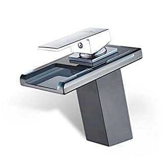 AuraLum Cristal Grifo de Lavabo de Cascada Monomando para Baño y Cocina