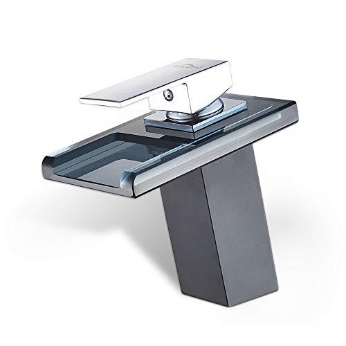 AuraLum Led Schwarz Waschtischarmatur Wasserfall Glas Wasserhahn mit RGB Farbewechsel Bad Badezimmer, Kupfer