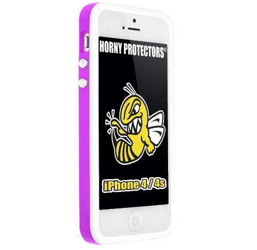 Horny Protectors Bumper für Apple iPhone 4/4S transparent/grün mit Metallbutton violett/weiß