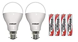 Eveready Base B22D 14-Watt LED Bulb (Cool Day Light, Pack of 2) with Free 4 AAA Alkaline Batteries
